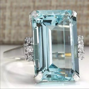 Aquamarine Diamond Sterling Silver Ring